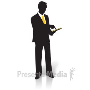 ID# 15003 - Businessman Silhouette Tablet - Presentation Clipart