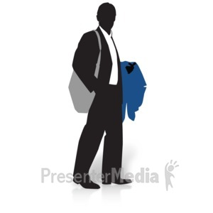ID# 15018 - Businessman Silhouette Coat - Presentation Clipart