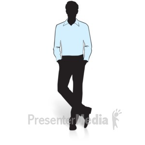 ID# 15019 - Businessman Silhouette Shirt - Presentation Clipart