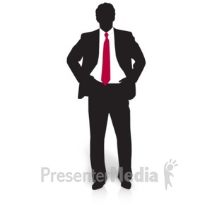 ID# 15022 - Businessman Silhouette Watching - Presentation Clipart