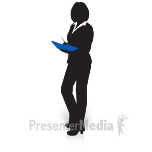 ID# 15027 - Businesswoman Silhouette Book - Presentation Clipart