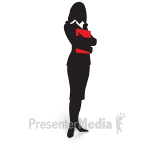 ID# 15029 - Businesswoman Silhouette Folder - Presentation Clipart