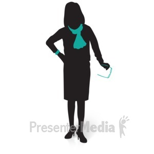 ID# 15030 - Businesswoman Silhouette Glasses - Presentation Clipart