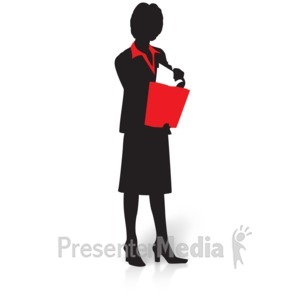 ID# 15031 - Businesswoman Silhouette Pull Files - Presentation Clipart