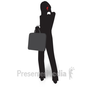 ID# 15033 - Businesswoman Silhouette Talking Phone - Presentation Clipart