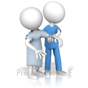 ID# 15034 - Medical Worker Helping Patient Walk - Presentation Clipart