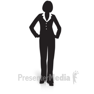 ID# 15035 - Businesswoman Silhouette Waiting - Presentation Clipart