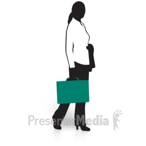 ID# 15037 - Businesswoman Silhouette Briefcase - Presentation Clipart