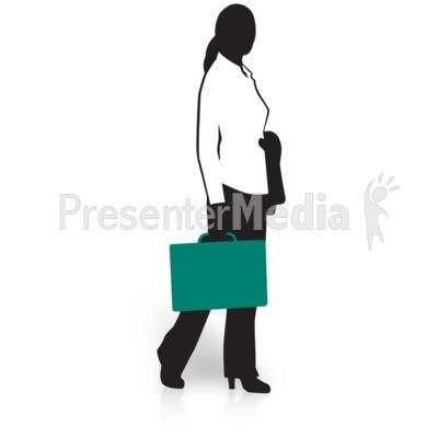 Businesswoman Silhouette Briefcase PowerPoint Clip Art