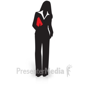ID# 15038 - Businesswoman Silhouette Carry File - Presentation Clipart