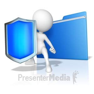 ID# 15040 - A Figure Protecting Files - Presentation Clipart