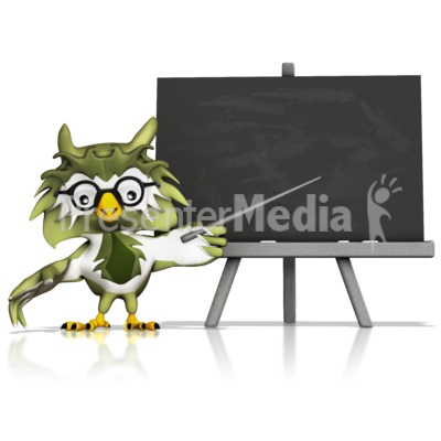 Owl Pointing At Chalkboard PowerPoint Clip Art
