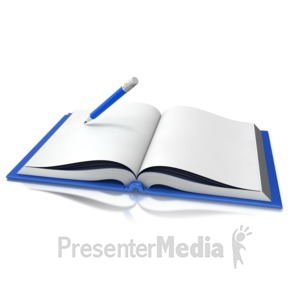 ID# 15069 - Opened Book Pencil Writing - Presentation Clipart
