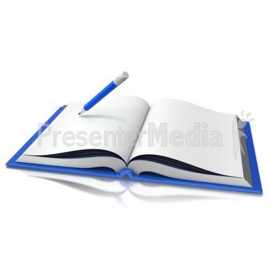 Opened Book Pencil Writing PowerPoint Clip Art