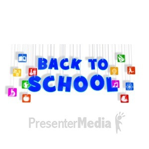 ID# 15083 - Back To School Hanging With Icons - Presentation Clipart