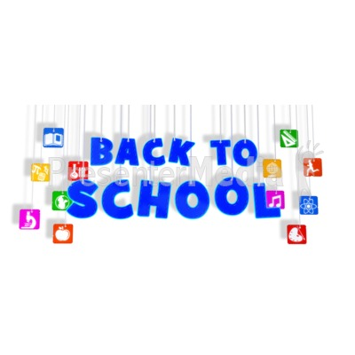 Back To School Hanging With Icons PowerPoint Clip Art