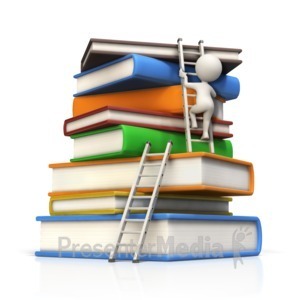 ID# 15090 - Figure Climbs Large Book Stack to Top - Presentation Clipart