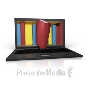 ID# 15092 - Bookshelf In Laptop - Presentation Clipart