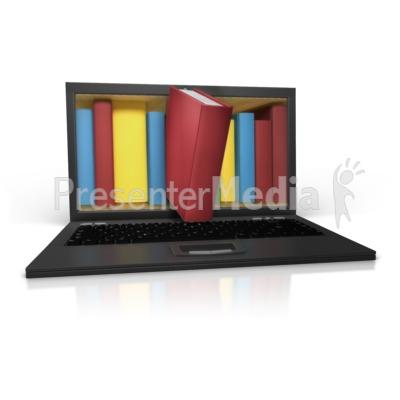 Bookshelf In Laptop PowerPoint Clip Art