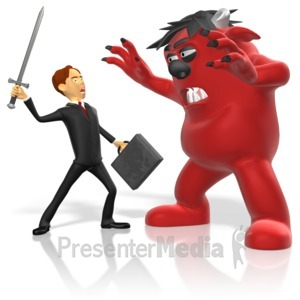 ID# 15097 - Businessman Sword Fight Monster - Presentation Clipart