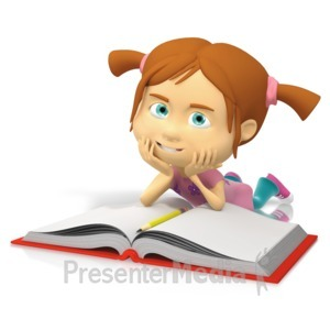 ID# 15113 - Young Girl Reading Book - Presentation Clipart