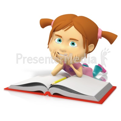 Kid In Pajamas Reading A Book Clip Art
