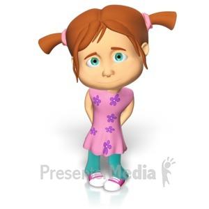 ID# 15114 - Cute Girl Shy - Presentation Clipart