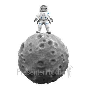 ID# 15115 - Astronaut On Asteroid - Presentation Clipart