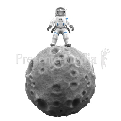 Astronaut On Asteroid PowerPoint Clip Art