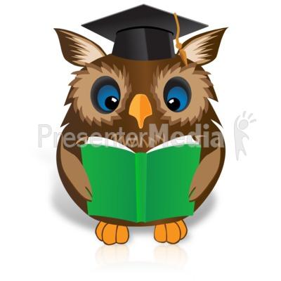 Smart Owl Reading Book PowerPoint Clip Art