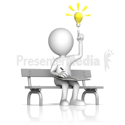 Creative Thinking On A Park Bench PowerPoint Clip Art