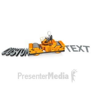 ID# 15193 - Steamroller Roll Over Custom Text - Presentation Clipart