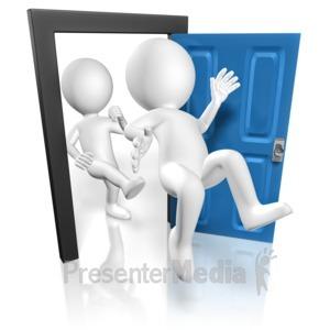 ID# 15199 - Stick Figure Kick Out Man - Presentation Clipart