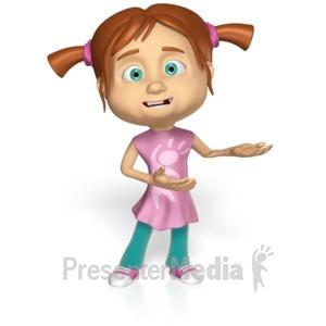 ID# 15212 - Cute Girl Presenting Custom - Presentation Clipart
