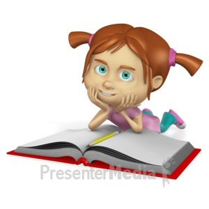 ID# 15218 - Young Girl Reading Book Custom - Presentation Clipart