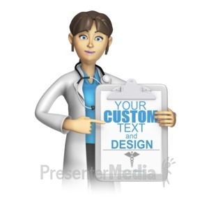ID# 15228 - Doctor or Nurse Present Custom Clipboard - Presentation Clipart