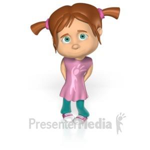 ID# 15231 - Cute Shy Girl Custom - Presentation Clipart