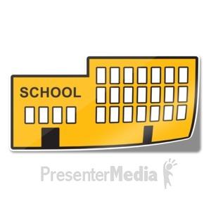 ID# 15238 - School Icon Sticker - Presentation Clipart