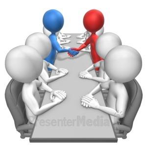 ID# 15254 - Stick Figures Agreement Custom - Presentation Clipart