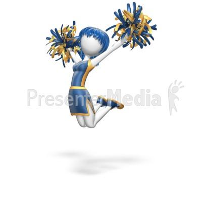 Cheerleader Jump Custom Presentation clipart