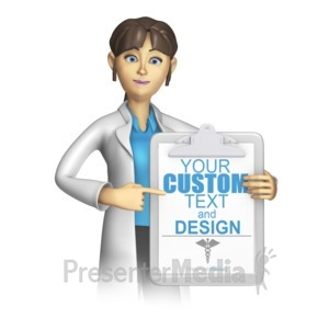ID# 15274 - Female Lab Worker Presenting Clipboard - Presentation Clipart