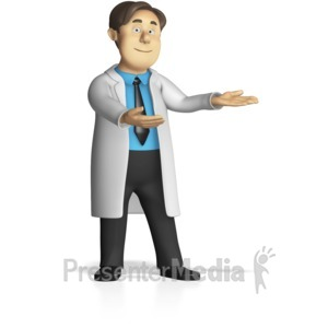 ID# 15283 - Male Lab Worker Presenting - Presentation Clipart