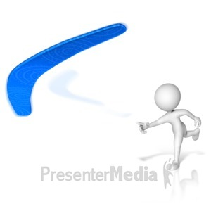 ID# 15298 - Figure Throwing Boomerang - Presentation Clipart