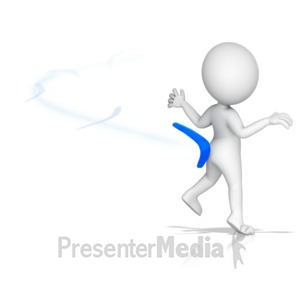 ID# 15299 - Figure Hit by Own Boomerang - Presentation Clipart