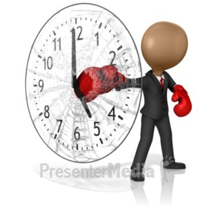 ID# 15353 - Business Boxer Punching Out Clock - Presentation Clipart