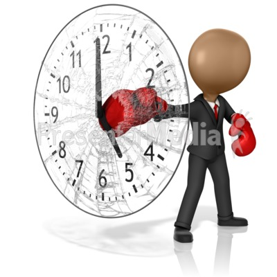 Business Boxer Punching Out Clock PowerPoint Clip Art