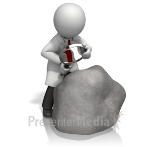 ID# 15357 - Scientist Magnify Boulder - Presentation Clipart