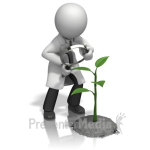 ID# 15360 - Scientist Magnify Plant - Presentation Clipart