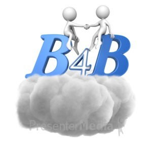 ID# 15382 - B4B Handshake In Cloud - Presentation Clipart