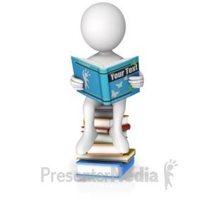 ID# 15399 - Sitting On Books Reading Custom Book - Presentation Clipart